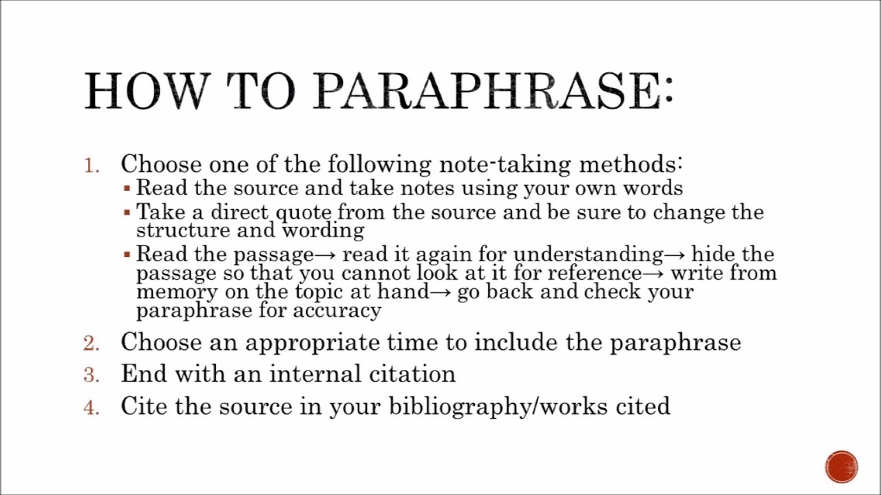 Paraphrasing in apa videos