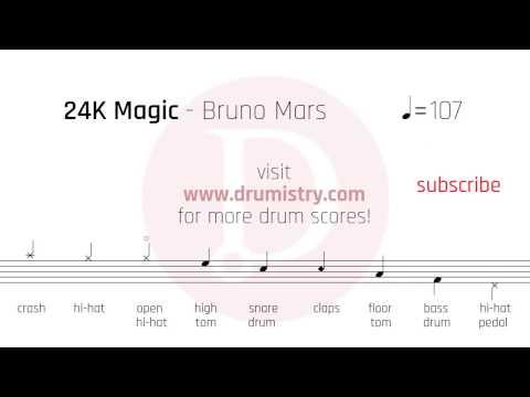 Bruno Mars - 24K Magic Drum Score