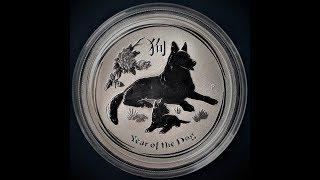 Серебряная монета: Австралия 50 центов, 2018 Китайский гороскоп - год собаки.