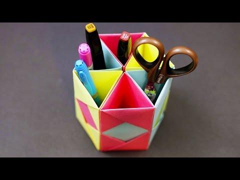 Origami Pencil Holder - Desk Organizer (DIY Paper Craft Tutorial)!