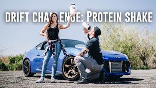 girl-vs-drift-car-protein-shake-challenge