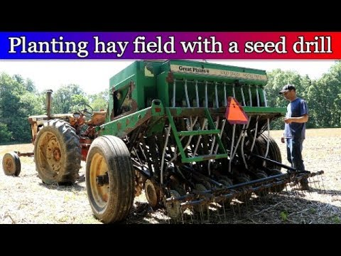 Planting Hay Field With No Till Seed Drill - Alfalfa & Grass Mixture