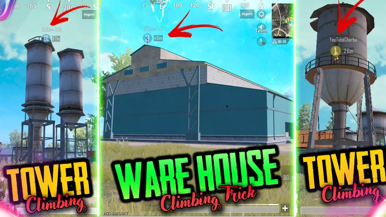 TOP 6 TRICKS to CLIMB TOWERS AND WAREHOUSE IN PUBG MOBILE USING LEDGE GRAB FEATURE