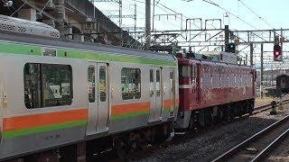 2019年9月10日 青森から秋田へ長い旅を経て、改造されたE231系電車が帰ってきました。E231系3000番台 JR秋田総合車両センター出場 配給  EF81 134+E231系  JR高崎駅