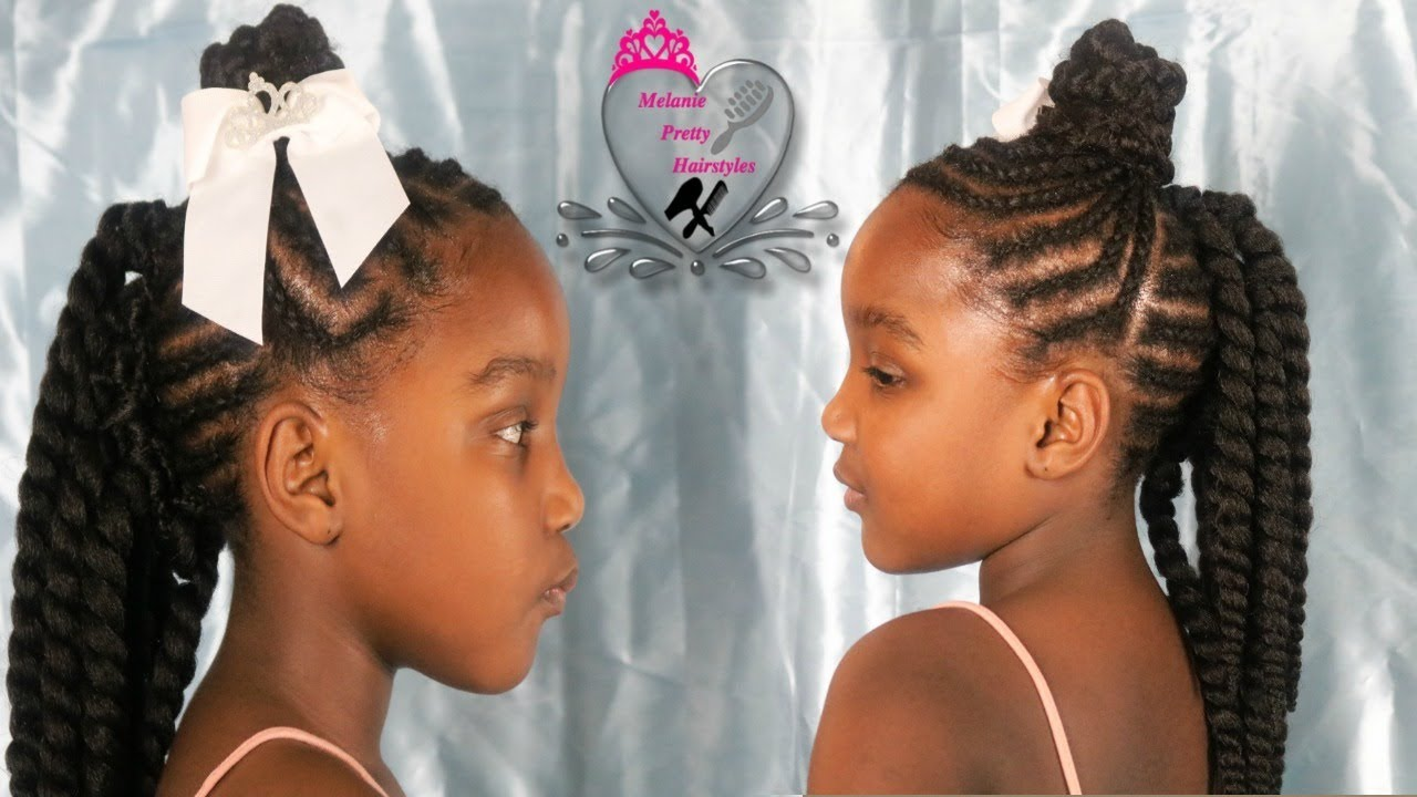 braided up bun with crochet mohawk in the back|hairstyles for girls|little girls hairstyles