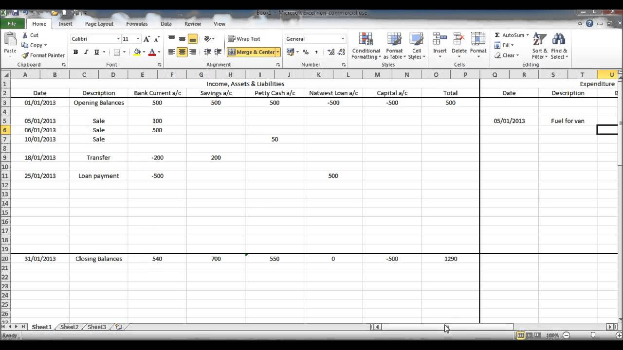 create a bookkeeping spreadsheet using microsoft excel part 3