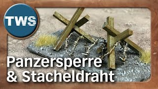 Atelier: Panzersperre und Stacheldraht / tank trap and barbed wire (Tabletop-Gelände, TWS)