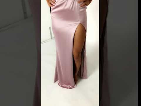 Portia and Scarlett Mauve Hugo silky satin evening gown at SHAIDE!