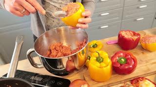 Gefüllte Paprika Rezept | Hackfleisch Füllung mit Käse überbacken | Backofen