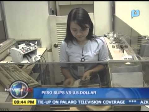 Peso slips vs U.S. dollar