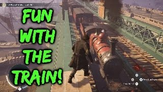 assassins creed syndicate free roam fun #1: Exploring London, train fun & carriage boarding!