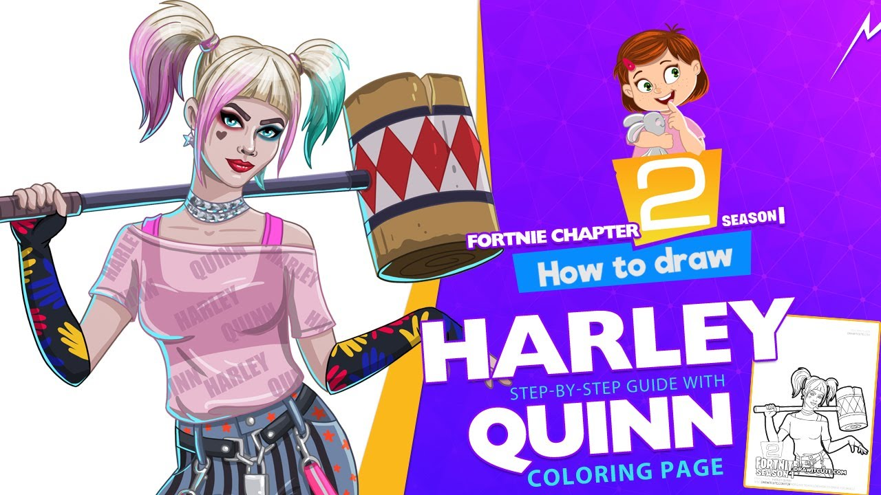 How To Draw Harley Quinn Fortnite Chapter 2 Step By Step Drawing Tutorial With A Coloring Page Youtube