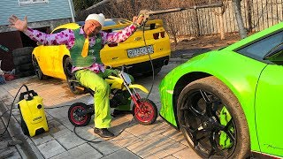 Mr. Joe On Motorcycle In Car Wash Washed Toy Cars & Grew Up In Big Car Camaro & Lamborghini For Kids