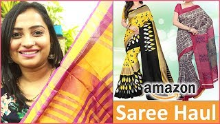 Amazon Saree Haul - 5 Sarees in Rs.2000/- Worth or Not | Sarees for Festival | Indian MOm On Duty