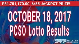 PCSO Lotto Results Today October 18, 2017 (6/55, 6/45, 4D, Swertres & EZ2)