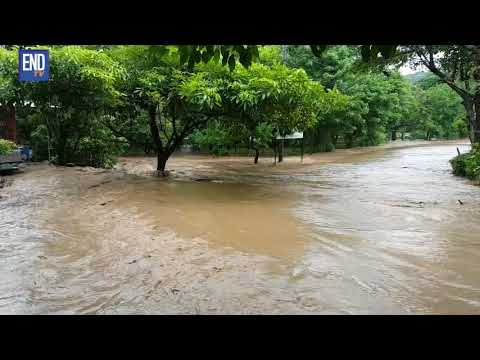 Río Ochomogo desbordado por lluvias en Rivas