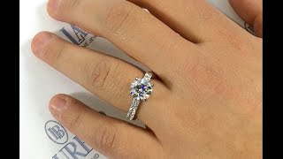 2 ct round diamond engagement ring with large pave diamonds