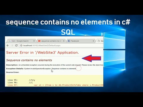 sequence contains no elements in c# sql