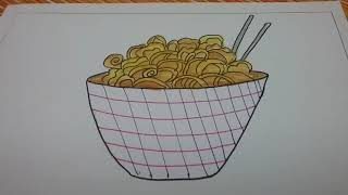 How to draw noodles step by step.drawing with curves
