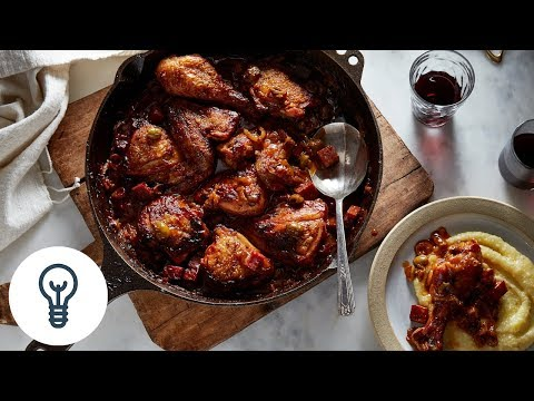 Donald Link's Braised Chicken with Salami and Olives | Genius Recipes