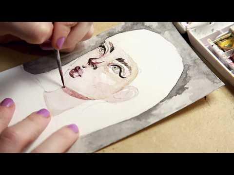 Watercolor Speed Sketch / Freckle Girl Portrait