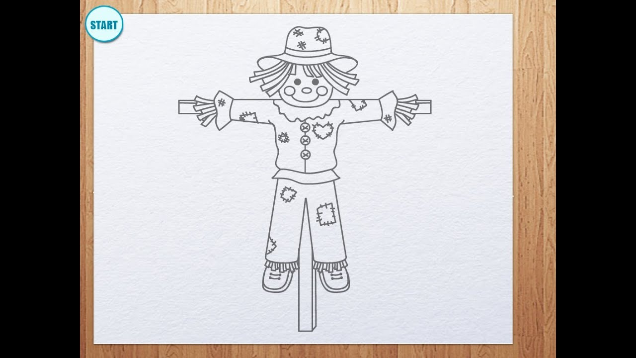 how to draw scarecrow