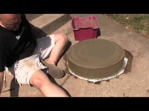 Diy carved concrete birdbath youtube for Making a concrete birdbath