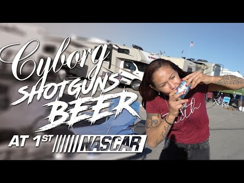 Cris Cyborg goes to NASCAR #AutoClub400 shotguns beer for first time