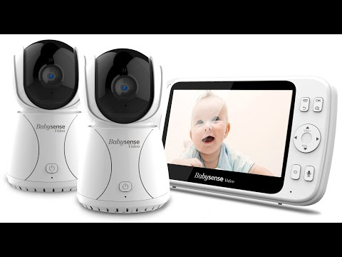 Baby Monitor with 2 Pan Zoom Tilt Cameras and Large 5