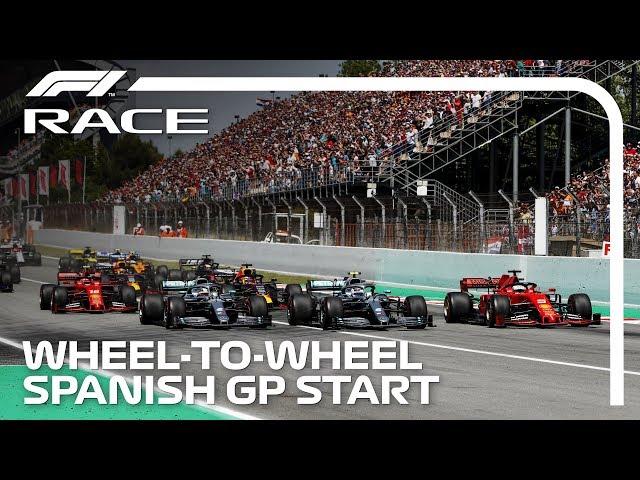 Hamilton, Bottas, Vettel Wheel-To-Wheel At The Start | 2019 Spanish Grand Prix