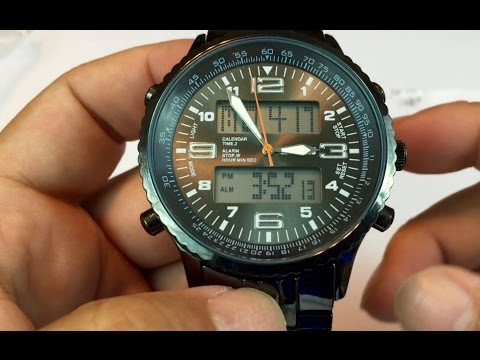 SKMEI LED Analog Digital Date Week Sports Outdoor Steel Blue Dial Watch review - giveaway