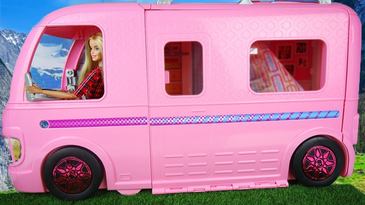 barbie camping car transformable poup e barbie sisters dolls morning routine in dream camper van. Black Bedroom Furniture Sets. Home Design Ideas