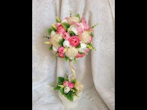 цветочный топиарий из сизали /// Floral Topiary of sisal