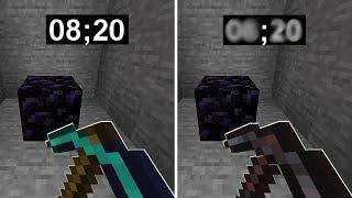 Diamond vs Netherite Pickaxe Obsidian Test in Minecraft