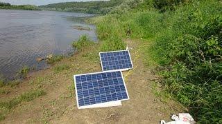 Солнечная батарея в походе 2*100Вт(Мой первый тест двух солнечных панелей фирмы EXMORK 12в 100Вт + контроллер SOLAR 80. Результатом доволен полностью!!!, 2016-06-29T12:47:09.000Z)