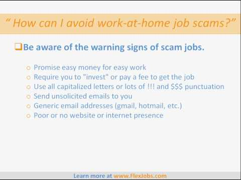 How to Avoid Work-At-Home Job Scams, Spot Fake Jobs, Avoid Job Scams. By FlexJobs