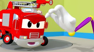 Police car for kids -  Lily the BUS is TRAPPED in the Car Wash - Car Patrol in Car City !