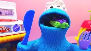 cookie monster isst Kekse bis zum Umfallen - mit Play Doh Zauberbäckerei und Play-doh Küche (Teil 2)
