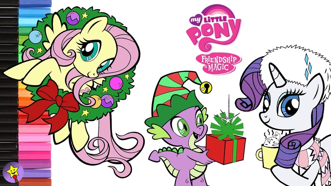 My Little Pony Coloring Book Fluttershy Rarity Spike Page MLP Christmas 2017