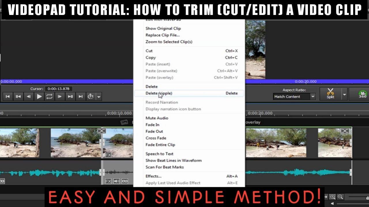 VIDEOPAD VIDEO EDITOR TUTORIAL 2020: HOW TO TRIM (CUT ...