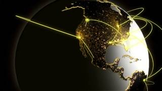 3d business cloud communication global motion graphics internet network technology wireless rotation