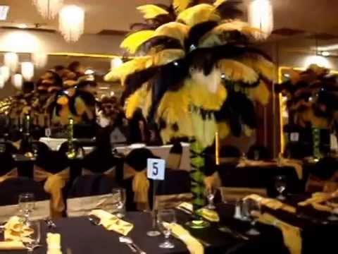 Black Gold Ostrich Feather Centerpieces At The Charisma Ballroom