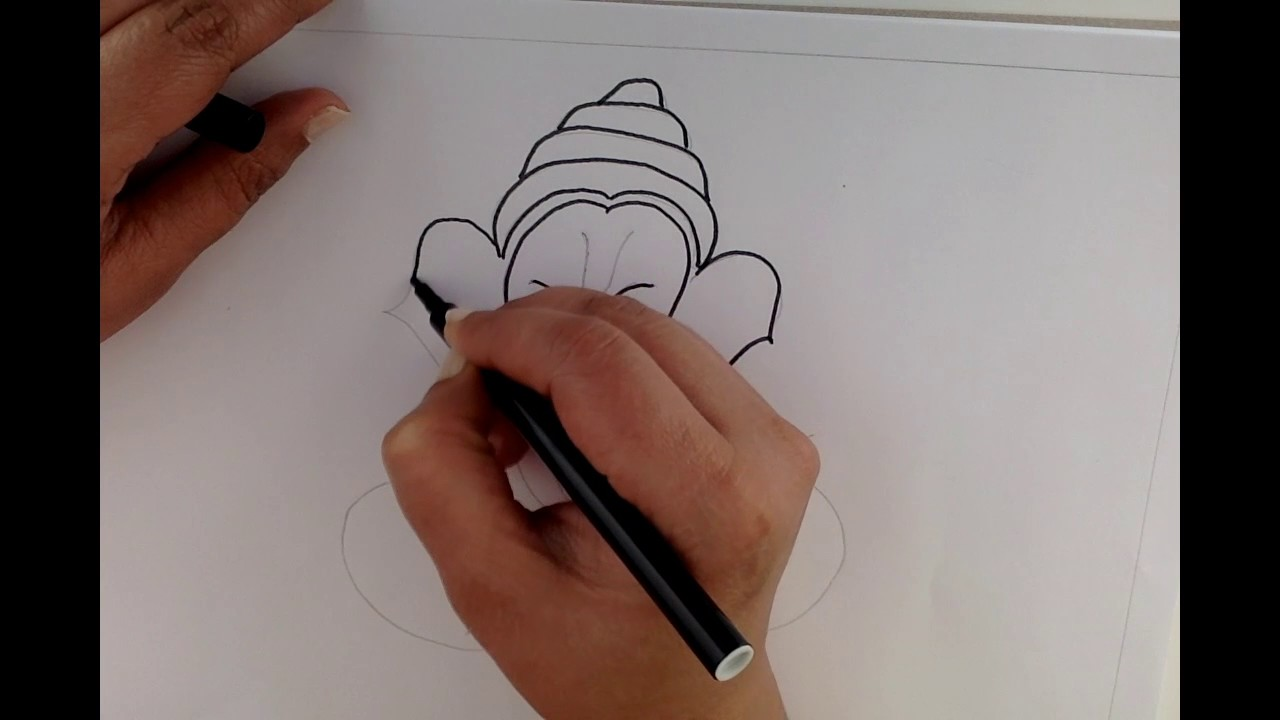 Easy steps to draw ganesha