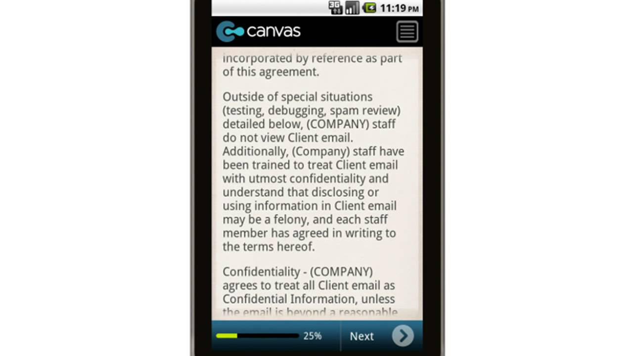Canvas Email Confidentiality Non Disclosure Agreement Mobile App