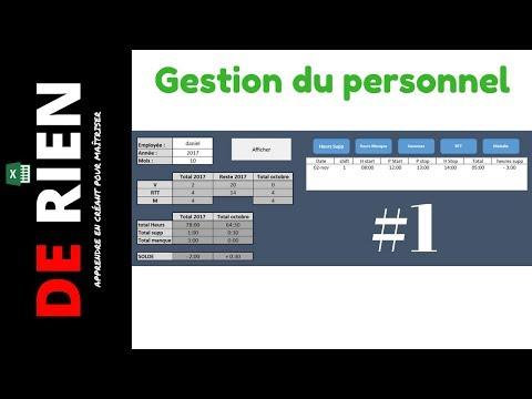 Gestion du personnel absence et temps de travail Part 1   Tutoriel Excel - DE RIEN