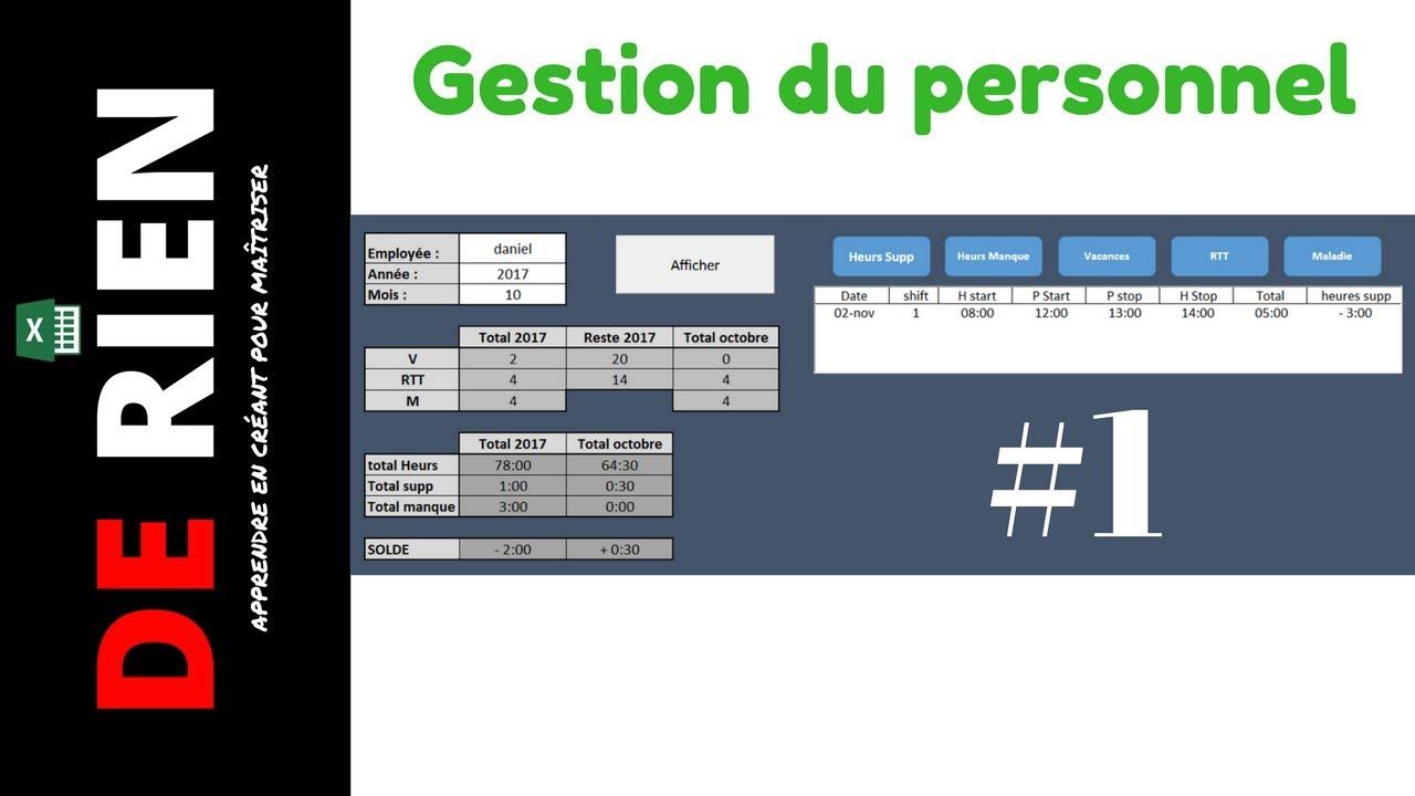 Gestion Du Personnel Absence Et Temps De Travail Part 1 Tutoriel Excel De Rien