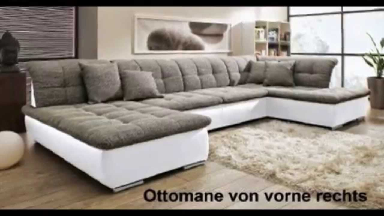 u wohnlandschaft sofa couch wohnzimmer strukturstoff leder imitat sw youtube. Black Bedroom Furniture Sets. Home Design Ideas