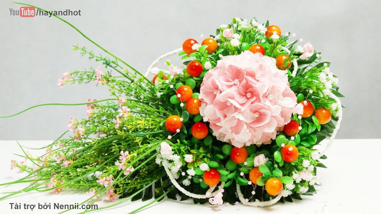 26.1: Làm hoa Cẩm Tú Cầu bằng giấy nhún