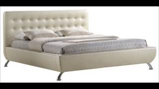 Baxton Studio Elizabeth Pearlized Modern Bed With Upholstered Headboard, King, Almond