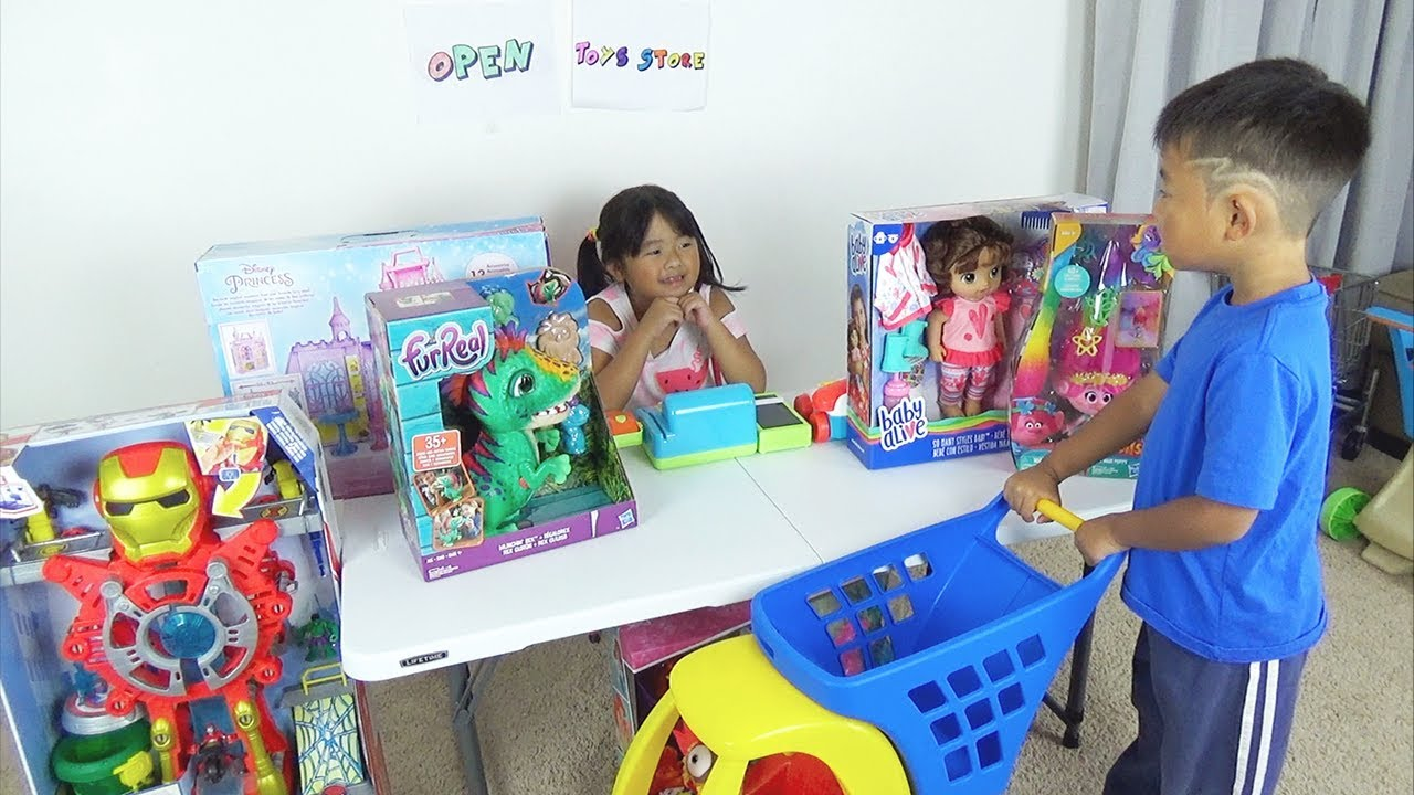 Children Pretend Play Shopping At Toy Store Shop With Toys